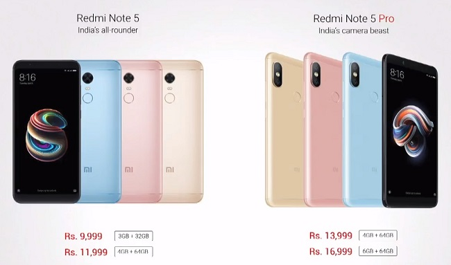 Xiaomi Launches Redmi Note 5 And Redmi Note 5 Pro In India