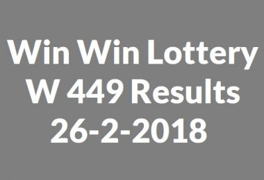 Win Win Lottery W 449 Results 26-2-2018
