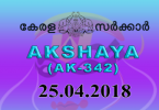Akshaya Lottery AK 342 Results 25-4-2018 Kerala Lottery Result Live Today