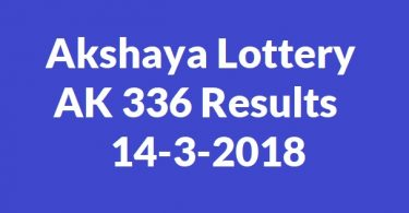 Akshaya Lottery AK 336 Results 14-3-2018