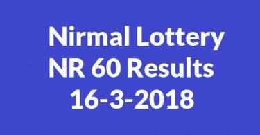 Nirmal Lottery NR 60 Results 16-3-2018