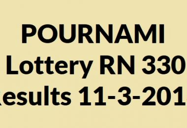 POURNAMI Lottery RN 330 Results 11-3-2018