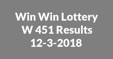 Win Win Lottery W 451 Results 12-3-2018
