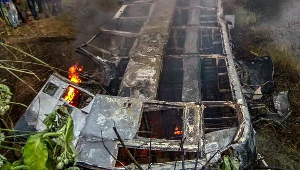 At least 20 feared dead as Delhi-bound bus catches fire after accident in Bihar