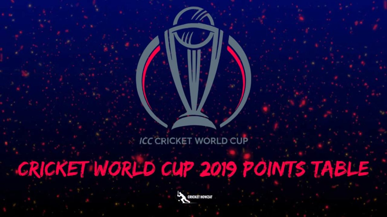 icc world cup points table 2019 cwc net run rate nr team standings match tally results